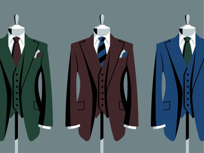 Tailored tie fashion illustration vector suits