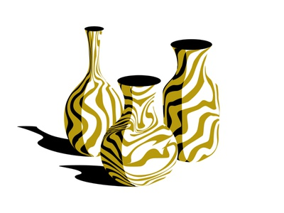 Vases study vector illustration marble vases