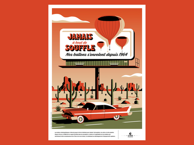 """Never Breathless"" clouds sky route 66 desert cactus billboard car vector poster vintage space illustration"