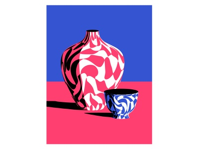 Vase and a Bowl marble bowl vase stilllife vector art vector