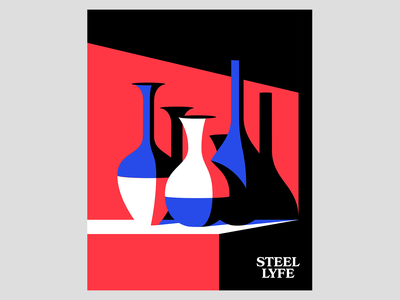 Steel Lyfe vase still life vector illustration