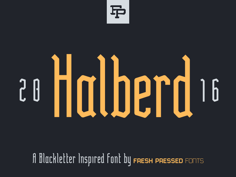Halberd Display Font notches elegant classic decorative modern sans-serif midieval typeface freshpressedfonts dislpay font blackletter