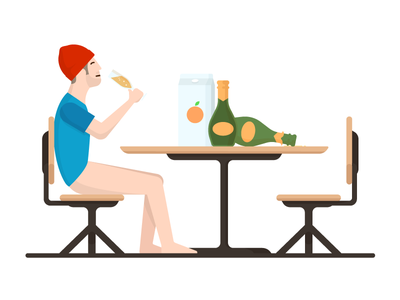 Bottomless Mimosas table orange juice champagne hipster illustration mimosa