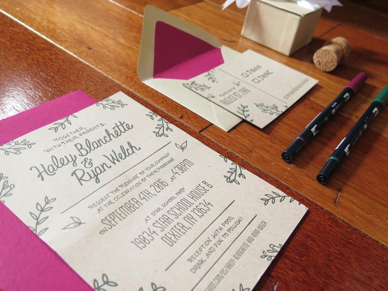 Fresh Pressed Studio - Wedding Invites ornamental leaf married custom letterpress lettering invitations invites wedding