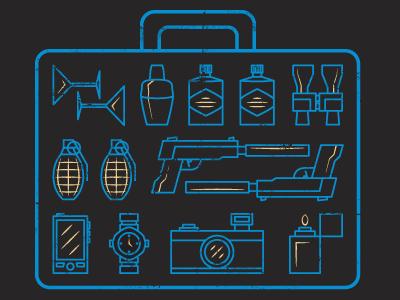 Prince Ink - Secret Agent Essentials prince ink secret agent martini shaker binoculars grenade gun phone watch lighter camera