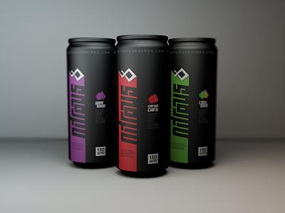 Nitrous Packaging nitrous energy drink cherry grape citrus can black
