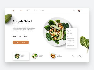 Menu page Arugula Salad restuarant menu card food typography website web ux ui design