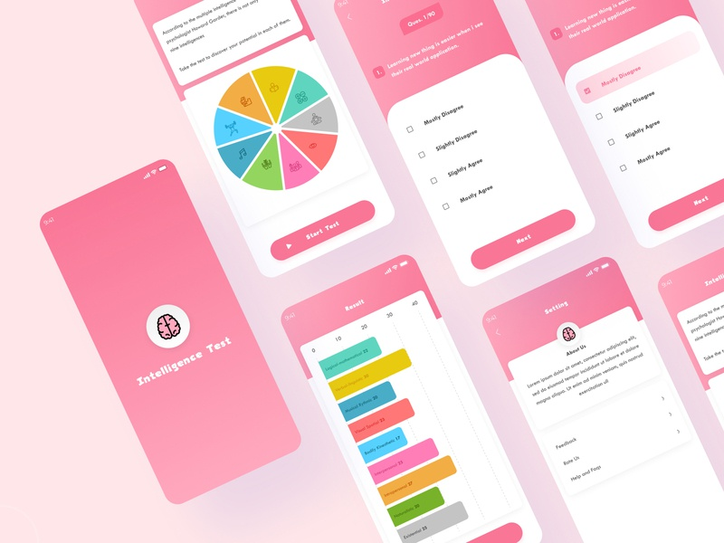 Intelligence test app design game mockup interface concept intelligence appdesign test