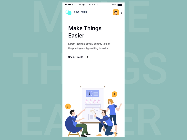 Project Management applicaiton design mobile app uiux