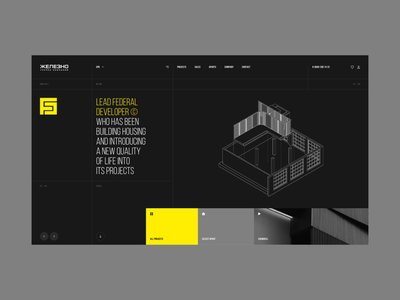 Jelezno | Development homepage agency modern developer interface design hellodribbble dribbble digital concept desktop ux ui layout minimal grid typography clean website real estate
