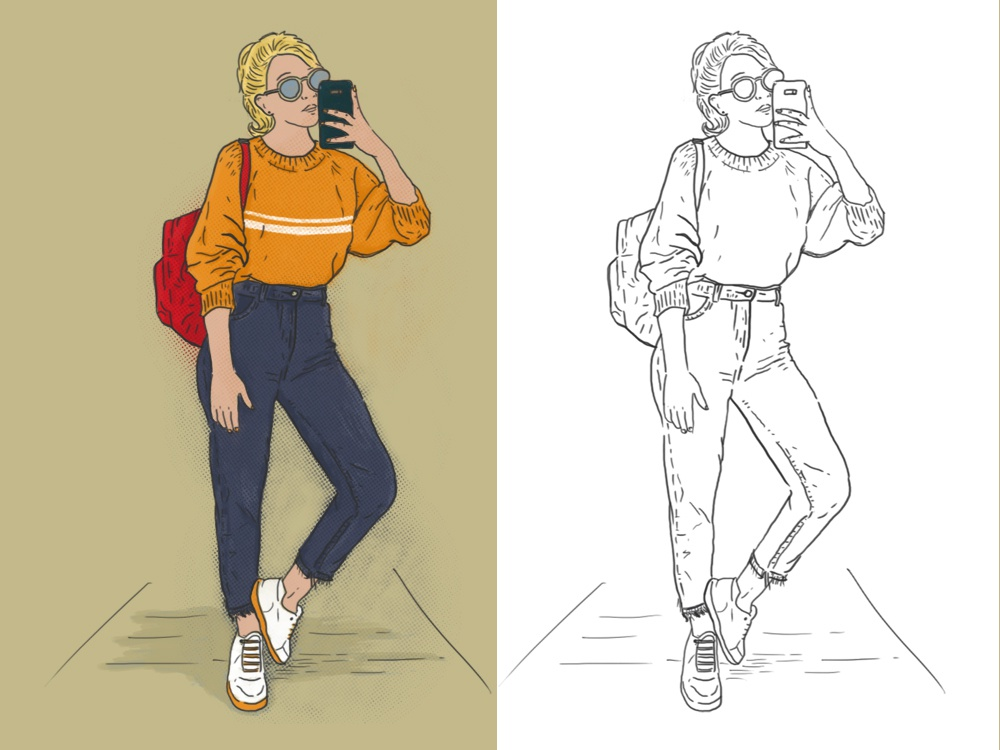 Hype & Hobby 1 sketch outfit fashion mirror girl women illustration