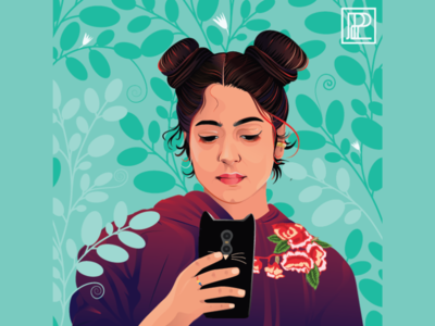 Portrait Illustration flowers girl vector colours illustration design