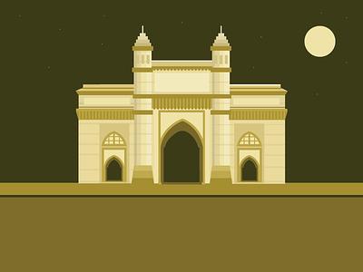 Indian city Illustration- Mumbai gate way of india city india mumbai illustration design