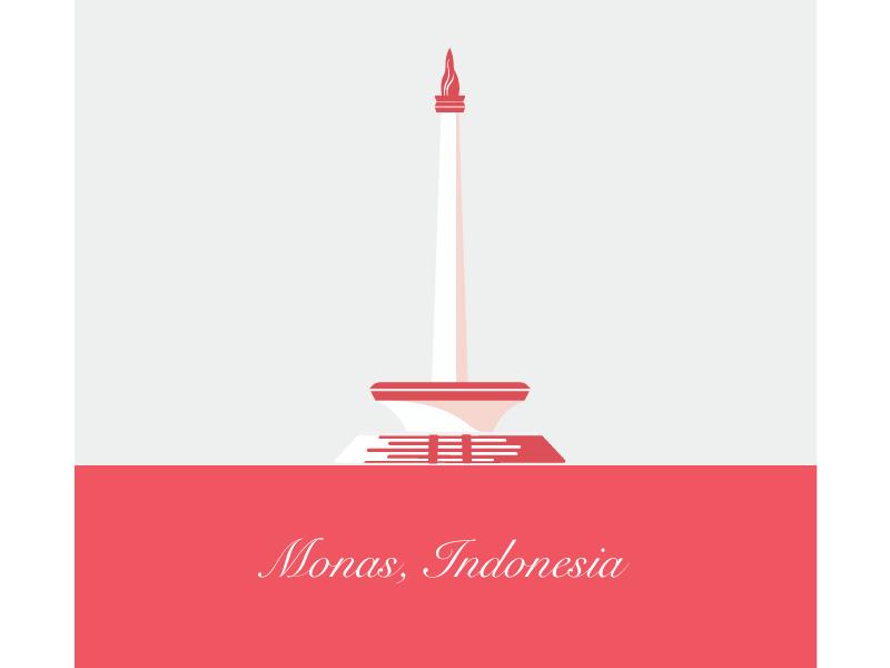 Monas, Indonesia. indonesia monas illustration design