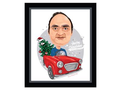 Portrait illustration xmas card. xmas gift portrait vector design illustration