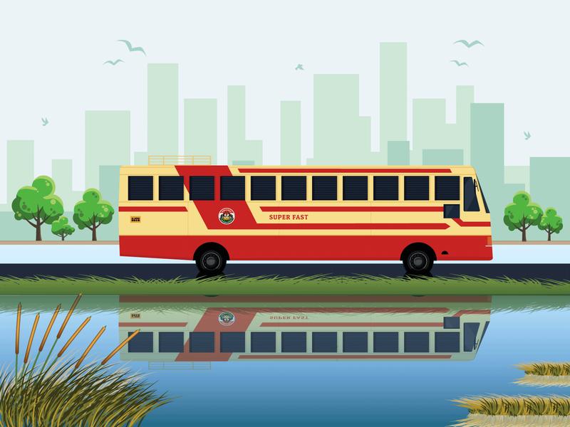 Kerala State RTC Bus Illustration bus ksrtc kerala colours redbus india illustration design