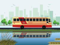 Kerala State RTC Bus Illustration