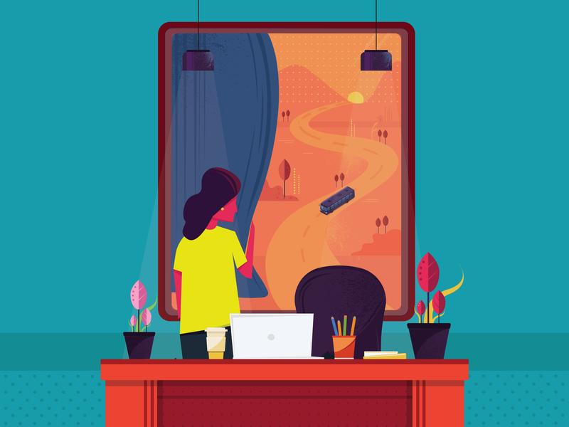 Peeking into the future! vector redbus city colours india illustration design
