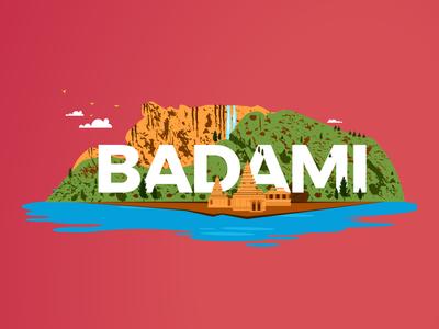 Top monsoon destinations in India - Badami redbus vector colours india illustration design