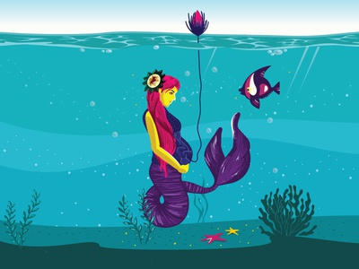 G U A R D E D sketchbook sketch art mom care life blue and yellow coloful sea mermaid mother nature motherhood mother vector colours illustration design