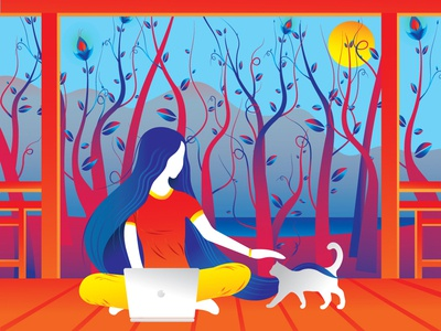 peace...... dreams finearts art landscape beautiful beauty peace colors hair orange blue yellow red cat girl vector colours india illustration design