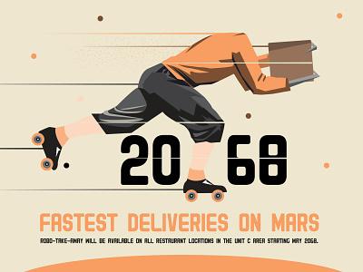 Fastest Deliveries to Mars retro vintage font kalmansk typography illustration block mars future