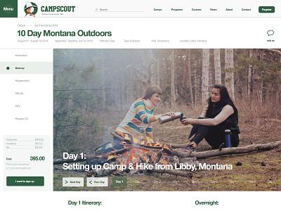 079 Itinerary | 100 Days of UI Design booking itinerary green camping travel web design uidesign dailyui