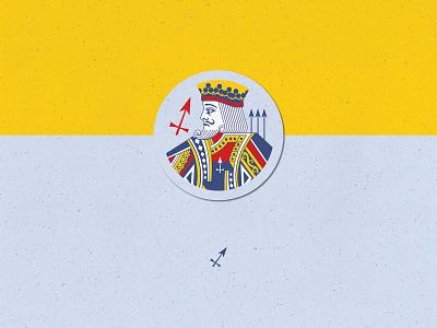 084 Badge | 100 Days of UI Design astronomy zodiac playcards archer sagittarius king badge illustration dailyui