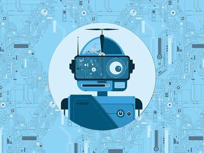 088 Avatar | 100 Days of UI Design 88 technology blue robot illustration avatar dailyui