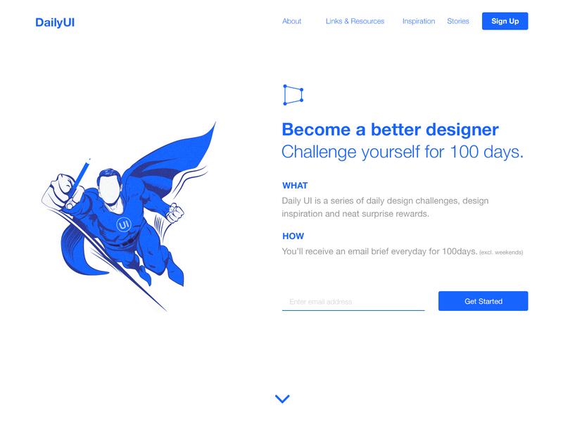 100 Redesign The DailyUI Homepage   100 Days of UI Design day 100 redesign homepage challenge web design uidesign dailyui