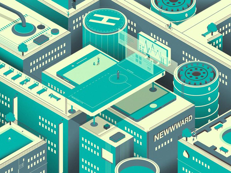 Newwward - Hospital of the Future modern green health cyberpunk future illustration hospital