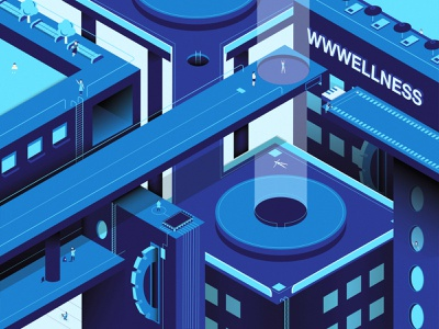 WWWellness Center isometric structures buildings blue shapes layers modern future center wellness illustration