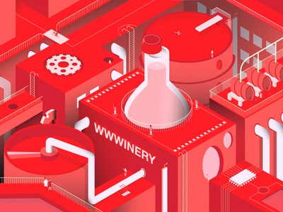 WWWinery Complex factory shapes future design isometric buildings wine red illustration