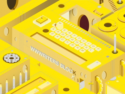 Wwwriters Block buildings graphic typedesign qwerty typewriter isometric shapes writers yellow illustration