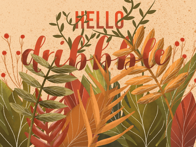 Hello dribbble ! drawing plant colors hello dribbble autumn floral nature design illustration