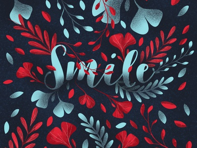 Smile flowers pattern design smile nature illustration floral drawing colors
