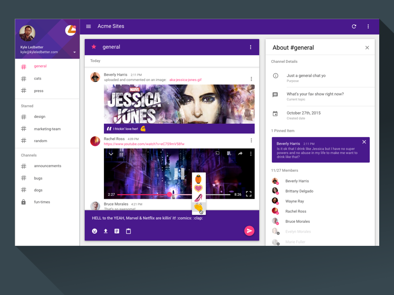Slack Material Design Desktop App aka jessica jones osx comments ui desktop material design chat slack