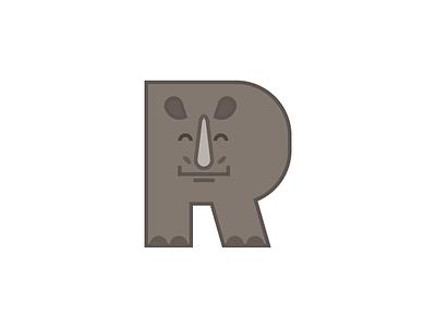 Rhino letters letter vector alphabet animal alphabet rhino