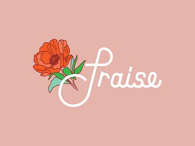 Praise branding logo type flower pink peony typeography