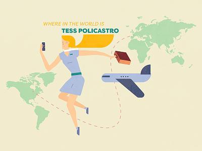 Globe Trotter illustration girl plane world traveler globe