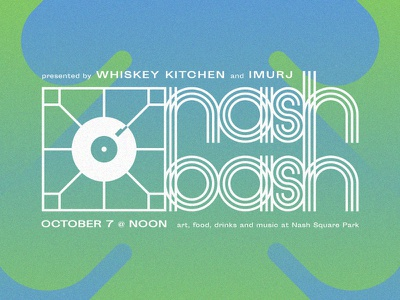 Nash Bash turntable raleigh music hip hop funky groovy retro lettering branding gig party block party