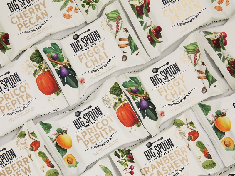 Big Spoon Roasters Nut Butter Bars natural botanicals hospitality food wrap foil packaging package design