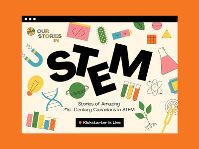 Our Stories in STEM Landing Page kickstarter math engineering technology science stem interactive illustration retro landing page