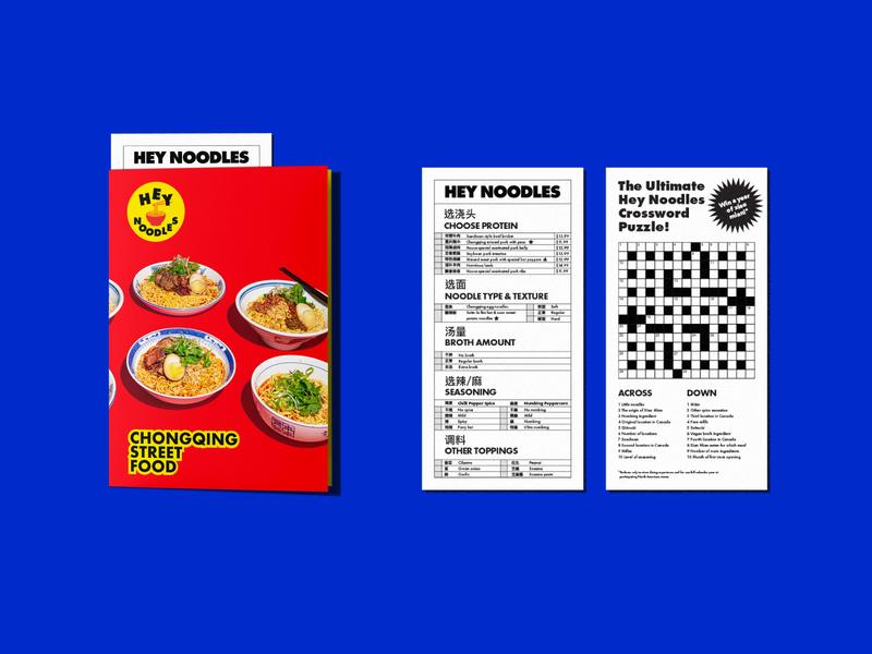 Hey Noodles Dine-in Menu colourful vibrant order sheet chongqing mandarin chinese noodles restaurant print menu