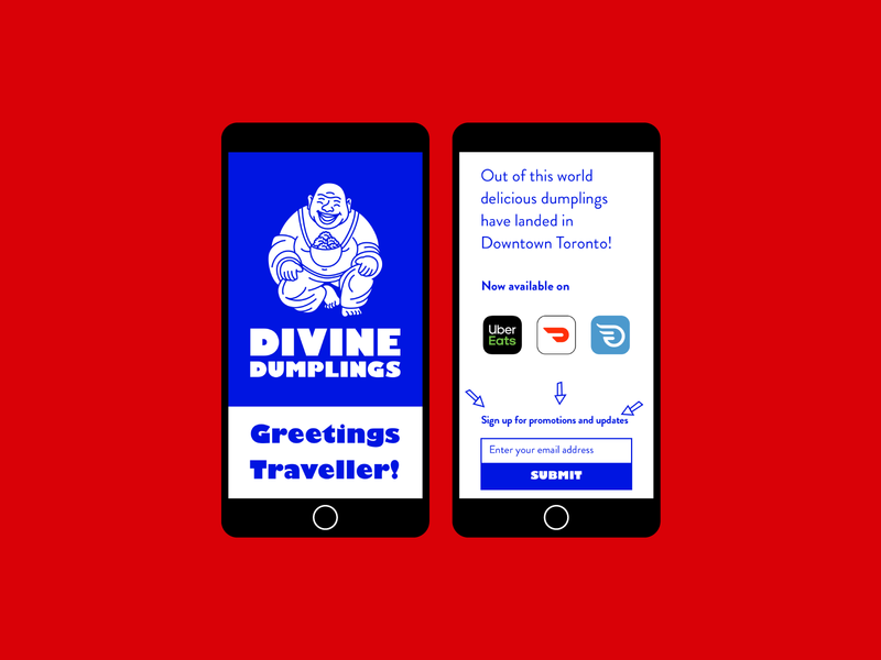 Divine Dumplings Landing Page dumplings budai monk logo illustration toronto delivery restaurant digital newsletter signup single page web landing page