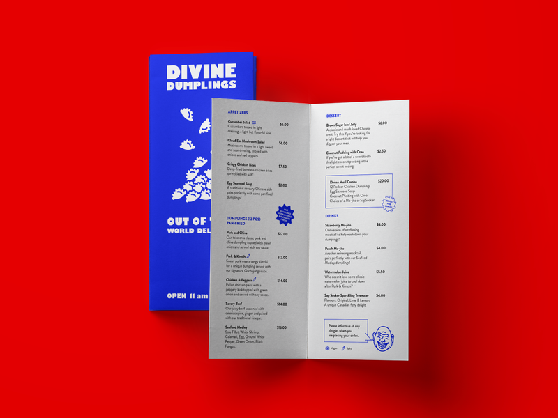 Diving Dumplings Print Applications identity print business cards branding restaurant take-out menu