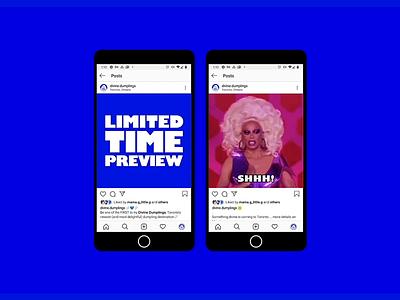 Divine Dumplings Launch Content animated digital restaurant dumplings memes instagram gifs content