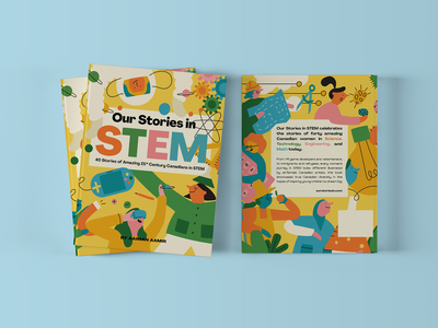 Our Stories in STEM - Book Cover kids colourful education stem retro whimsical illustration print design