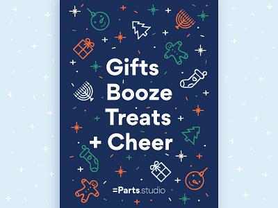 Studio Holiday Card sparkle confetti present gingerbread man menorah stocking tree card typography illustration cheer holidays