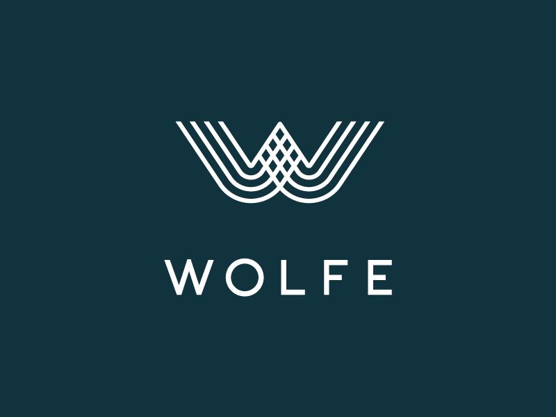 Wolfe Interior Design Logo typography interior design custom emblem wordmark monogram logo branding